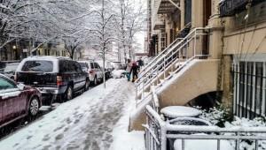 New York City Manhattan during snow storm